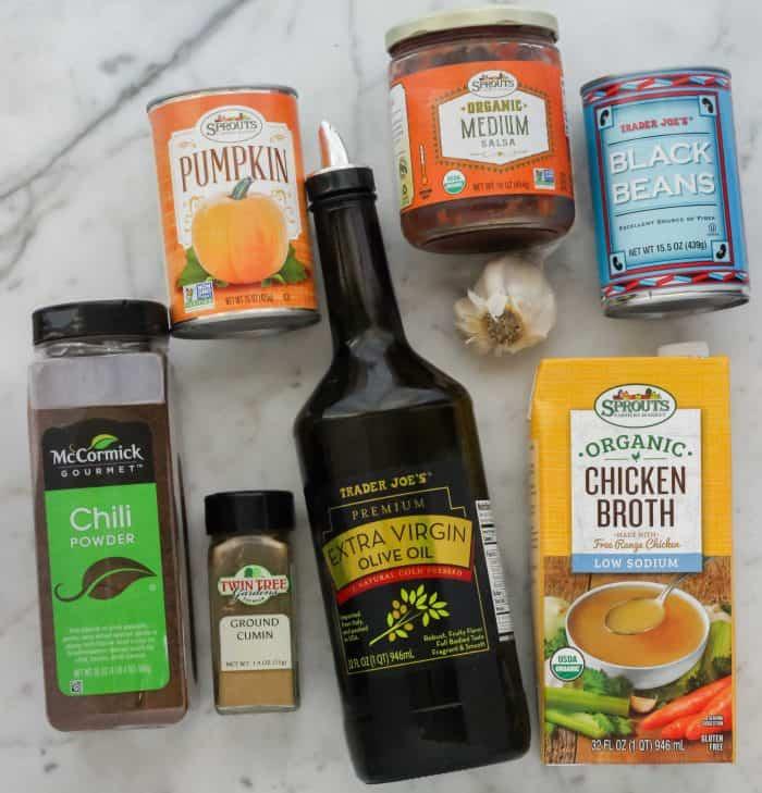 chili powder, pumpkin puree, cumin, olive oil, salsa, garlic, chicken broth, black beans