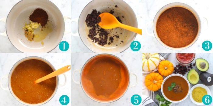 collage of how to make pumpkin soup by adding spices to the pot and stirring, then adding liquid and salsa, and bringing to a boil, then serving with toppings