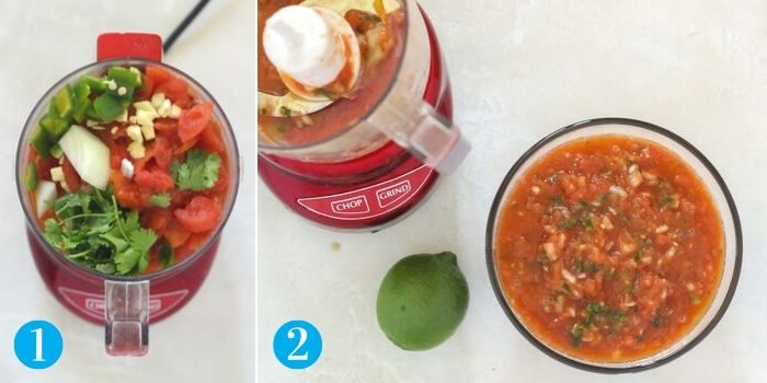 collage photo with one photo of ingredients to make salsa in a mini food processor, and another photo of salsa in a bowl with a lime and empty food processor