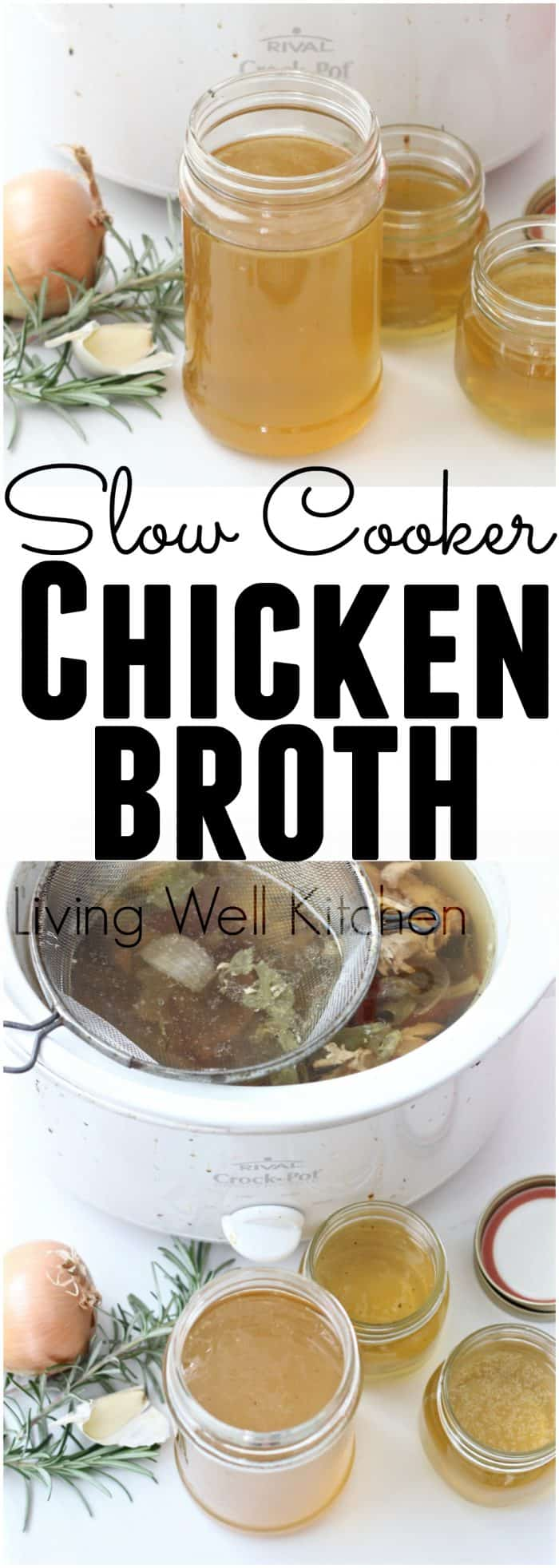 Making homemade chicken broth is easy when you use your slow cooker. Slow Cooker Chicken Broth recipe from @memeinge