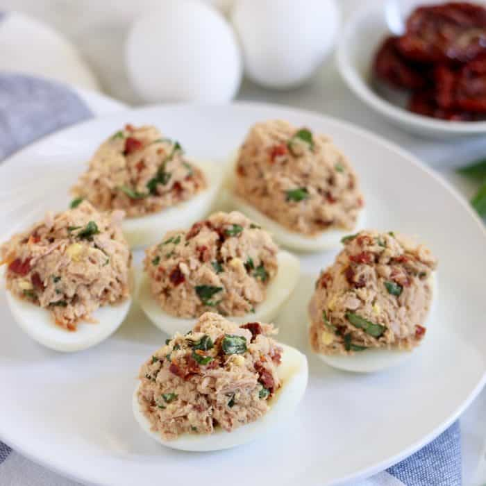 plate of Sun-Dried Tomato Tuna Salad eggs