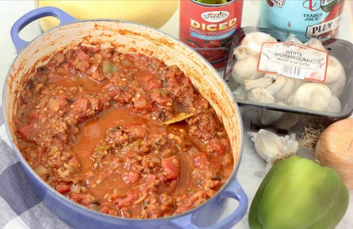 Turkey Meat Sauce with ingredients