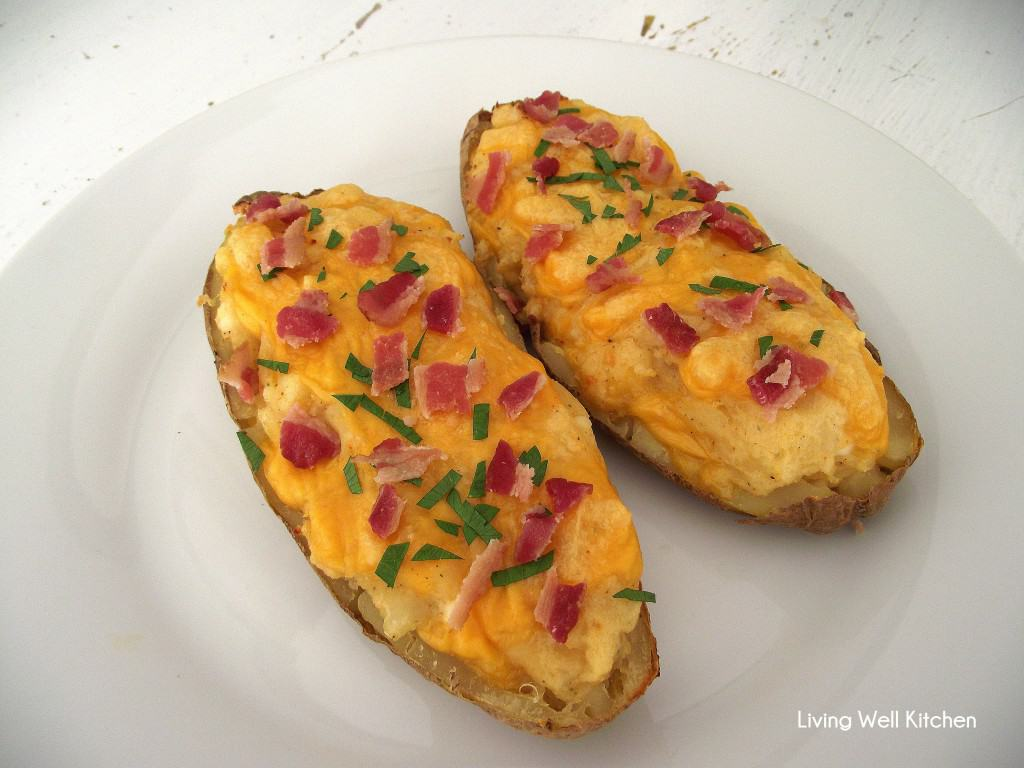 These healthier twice baked potatoes will squash your craving for comfort food without filling you up too much. Great as a side or for dinner