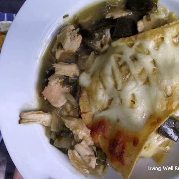 chicken and roasted poblano casserole #recipe from Living Well Kitchen