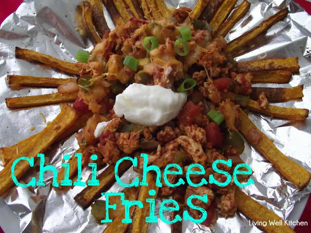 These mouthwatering chili cheese fries from Living Well Kitchen are loaded with flavor without all the guilt of regular chili & cheese covered fries since they are made with butternut squash