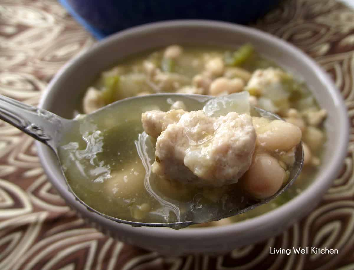 White Bean & Turkey Chili #recipe from Living Well Kitchen