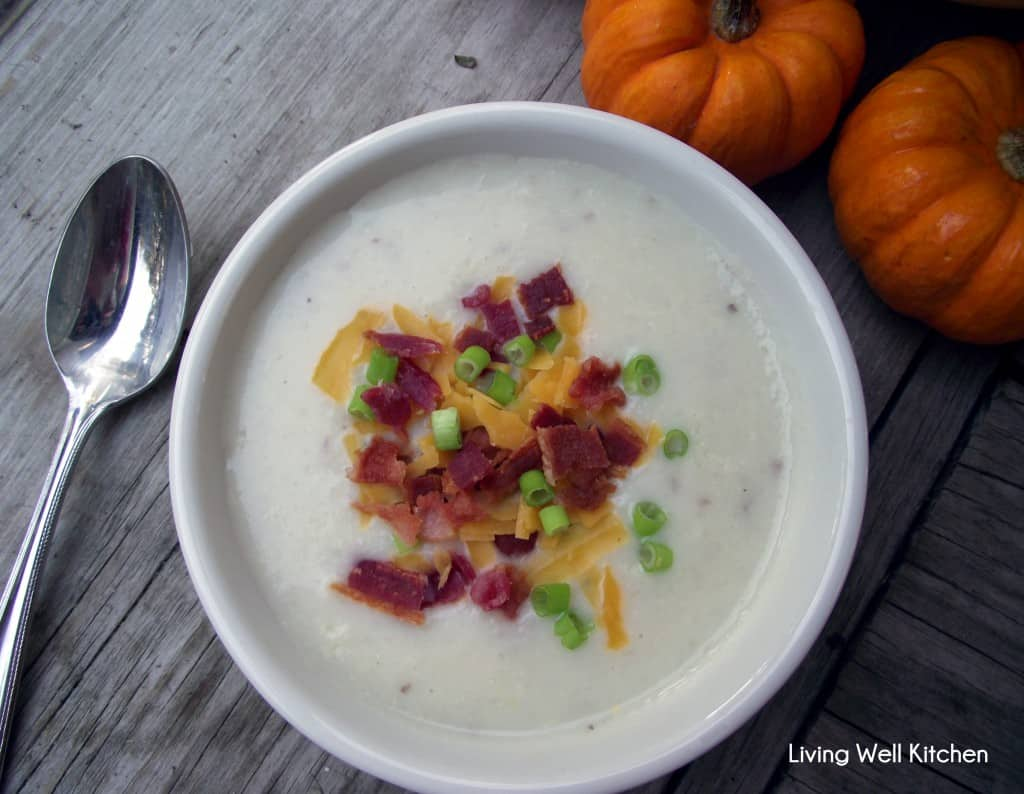 Loaded potato soup full of potato goodness complete with all the toppings; adding cauliflower helps boost the nutritional value and decrease the carbs