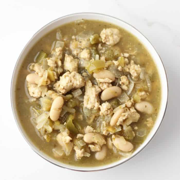 white bowl of White Bean Turkey Chili