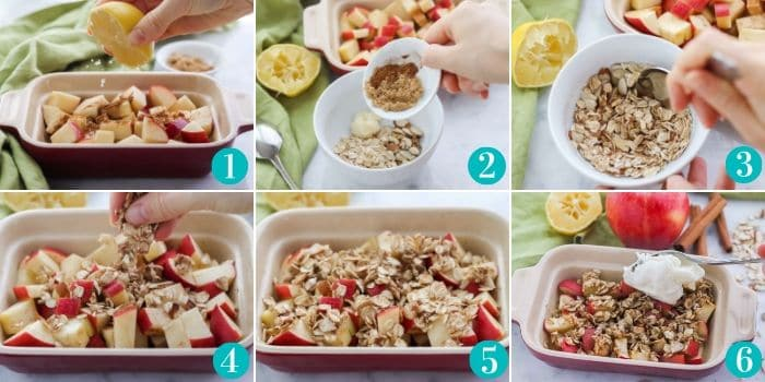 step by step photos of making microwave baked apples in a red baking dish