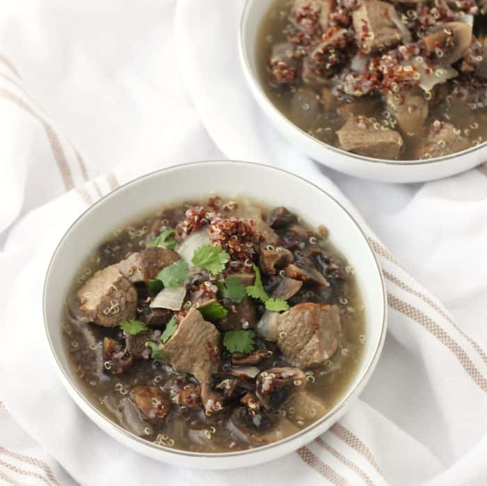 Roasted Mushroom and Beef Soup from Living Well Kitchen