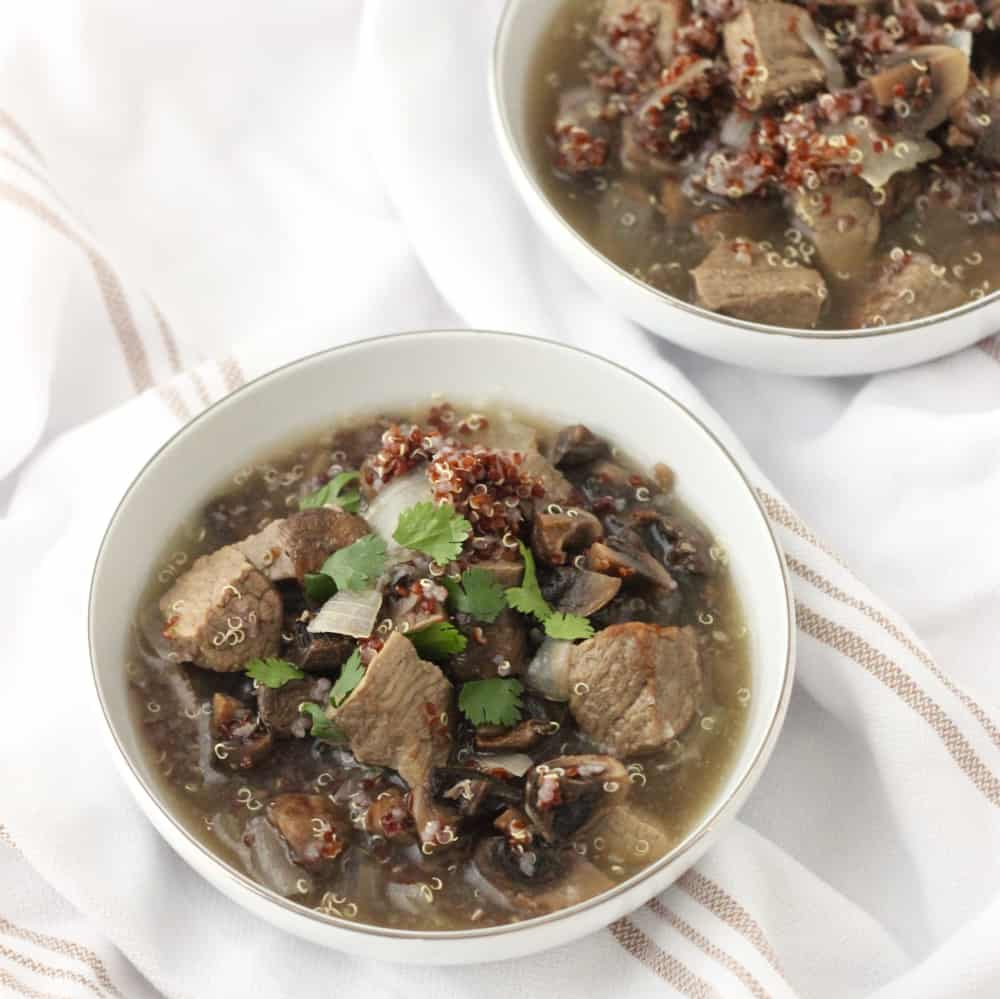 Roasted Mushroom and Beef Soup