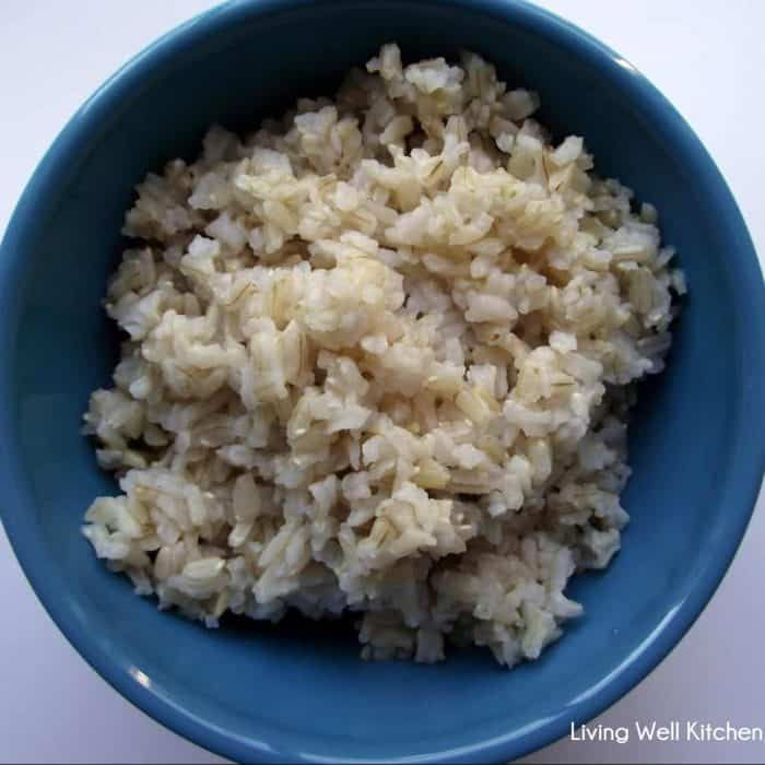 blue bowl of cooked brown rice