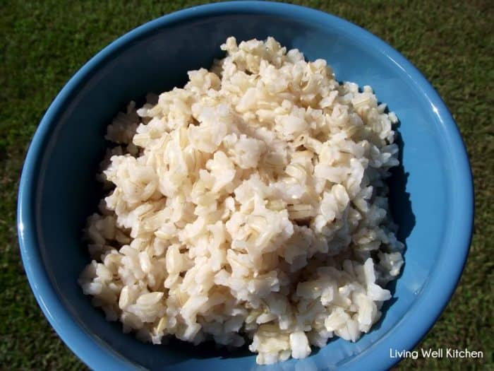 Blue bowl of cooked brown rice with grass in background