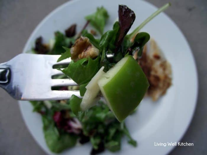 fork with apple salad