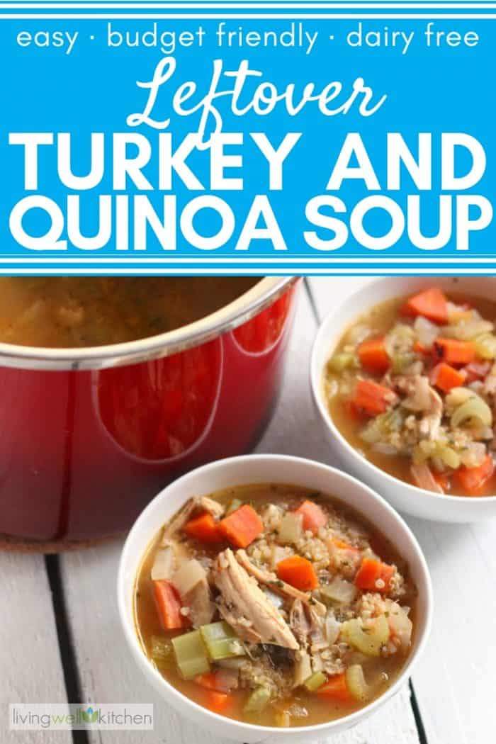 bowls and pot of turkey and quinoa soup