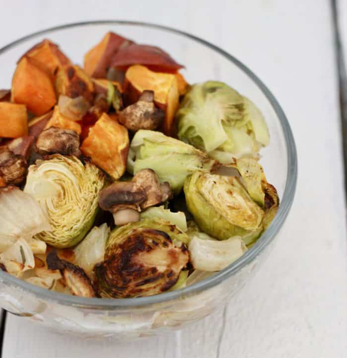 clear bowl of roasted vegetables for thanksgiving