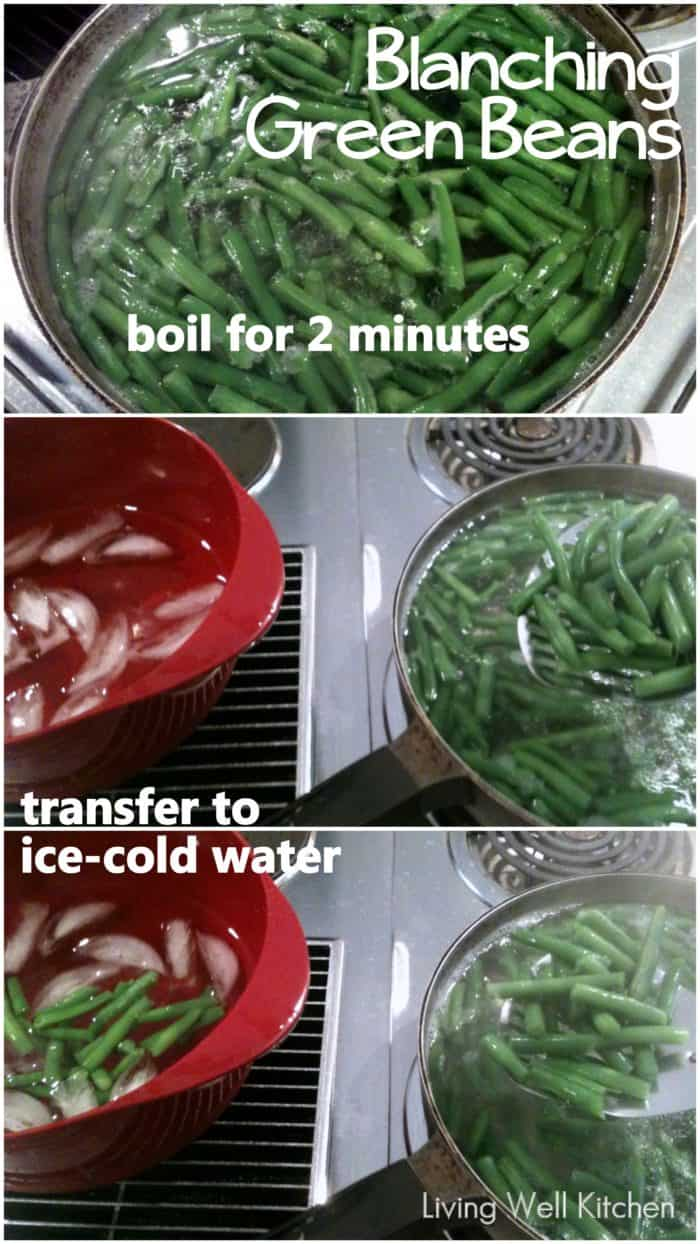 collage with how to blanch green beans by boiling them, adding to ice cold water and draining them