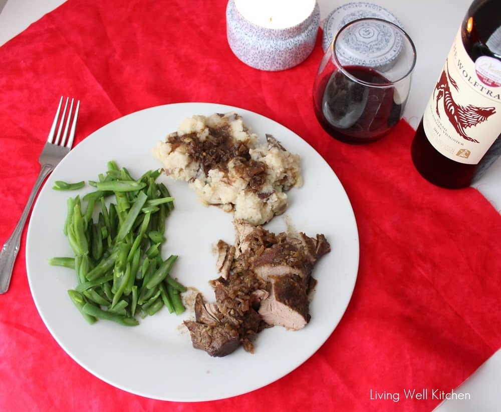 Crock-Pot Pork Tenderloin with sauteed green beans, smashed potatoes and gravy