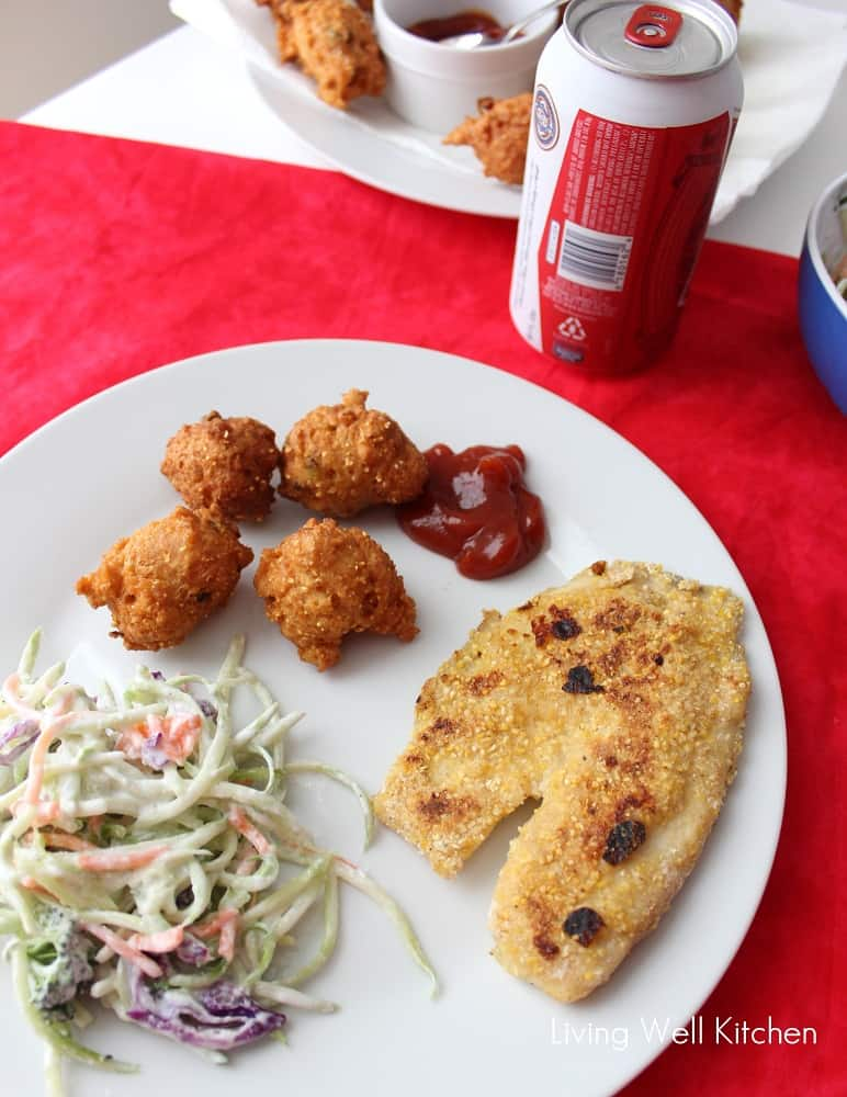 fried fish, hushpuppies, and coleslaw