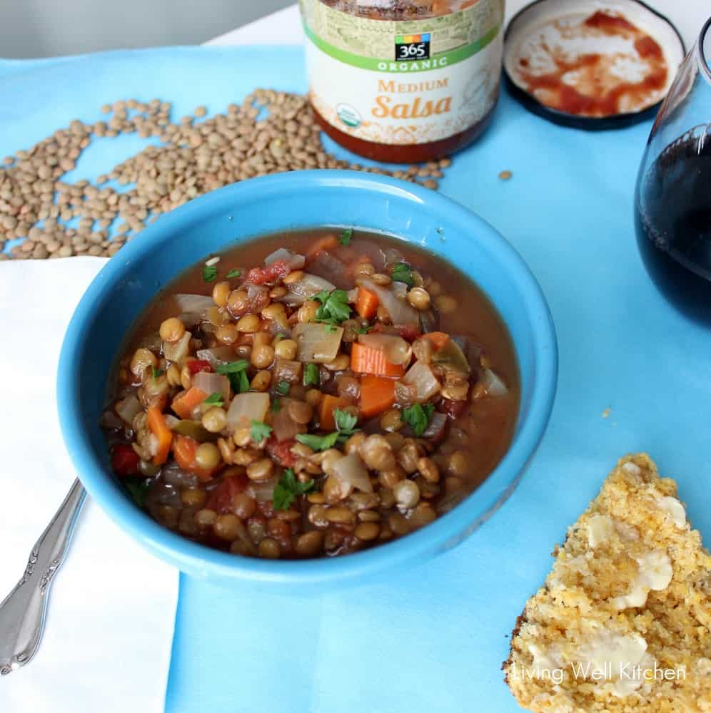 Salsa Lentil Soup from Living Well Kitchen is an easy vegetarian/vegan soup perfect for a lazy night. Most of the ingredients are probably already in your kitchen