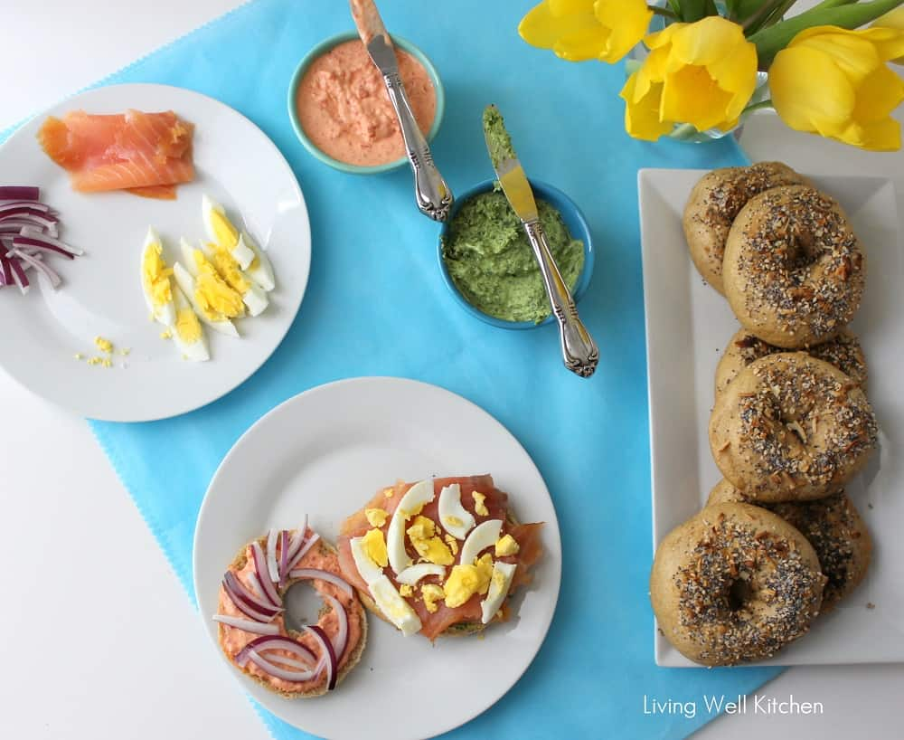 Salmon Bagel Sandwich is a sandwich that tastes amazing but is equally as good for you with omega-3's, veggies, lean protein, and whole grains