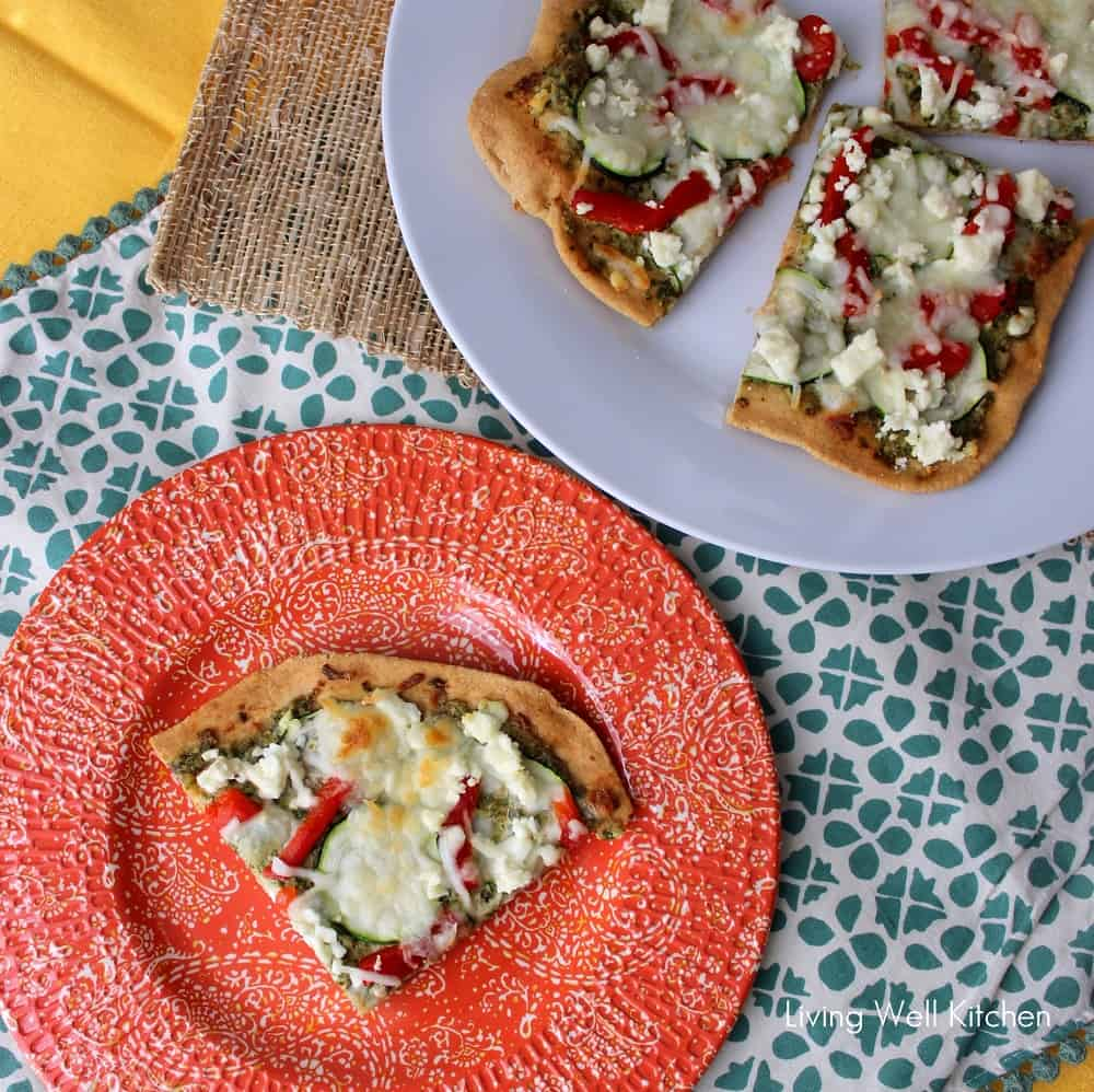 Pizza with feta and mint pesto from Living Well Kitchen
