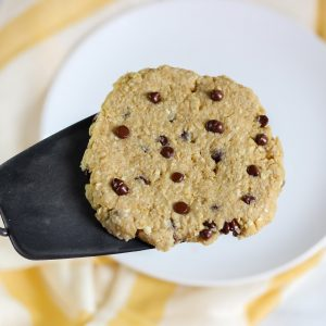 spatula holding a microwave cookie
