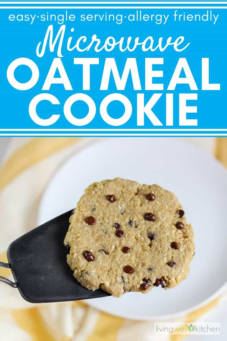 Microwave Oatmeal Cookie is a quick, easy, and healthy cookie made in the microwave. It only serves one, so there's no need to make extra cookies you don't need. Add chocolate chips or raisins for a little something extra. Great dorm room recipe. #oatmealcookie #microwaverecipe