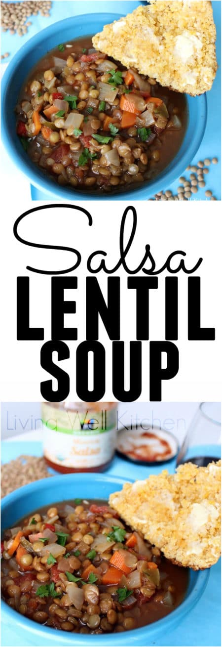 Easy gluten-free, vegan soup perfect for a lazy night. Most of the ingredients are probably already in your kitchen, and it's a very budget friendly meal. This Salsa Lentil Soup recipe from @memeinge is a healthy & delicious idea for dinner and great for leftovers. || https://memeinge.com/blog/salsa-lentil-soup/ #recipes #soups #souprecipes #vegan #veganfood #GlutenFree #budget