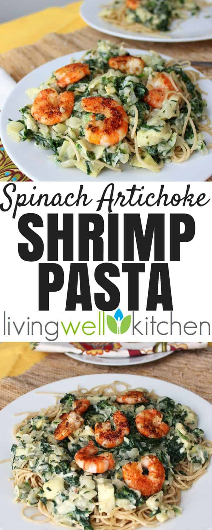 Spinach Artichoke Shrimp Pasta from Living Well Kitchen is a pasta dish covered in a rich and creamy spinach artichoke sauce, topped with shrimp that's deliciously satisfying. This recipe can easily be made gluten free.