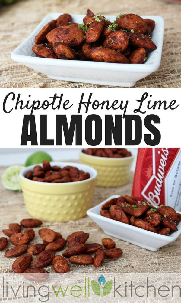 Chipotle Honey Lime Almonds from Living Well Kitchen are spicy, tangy, and a little bit sweet all in one. Gluten free, dairy free snack recipe