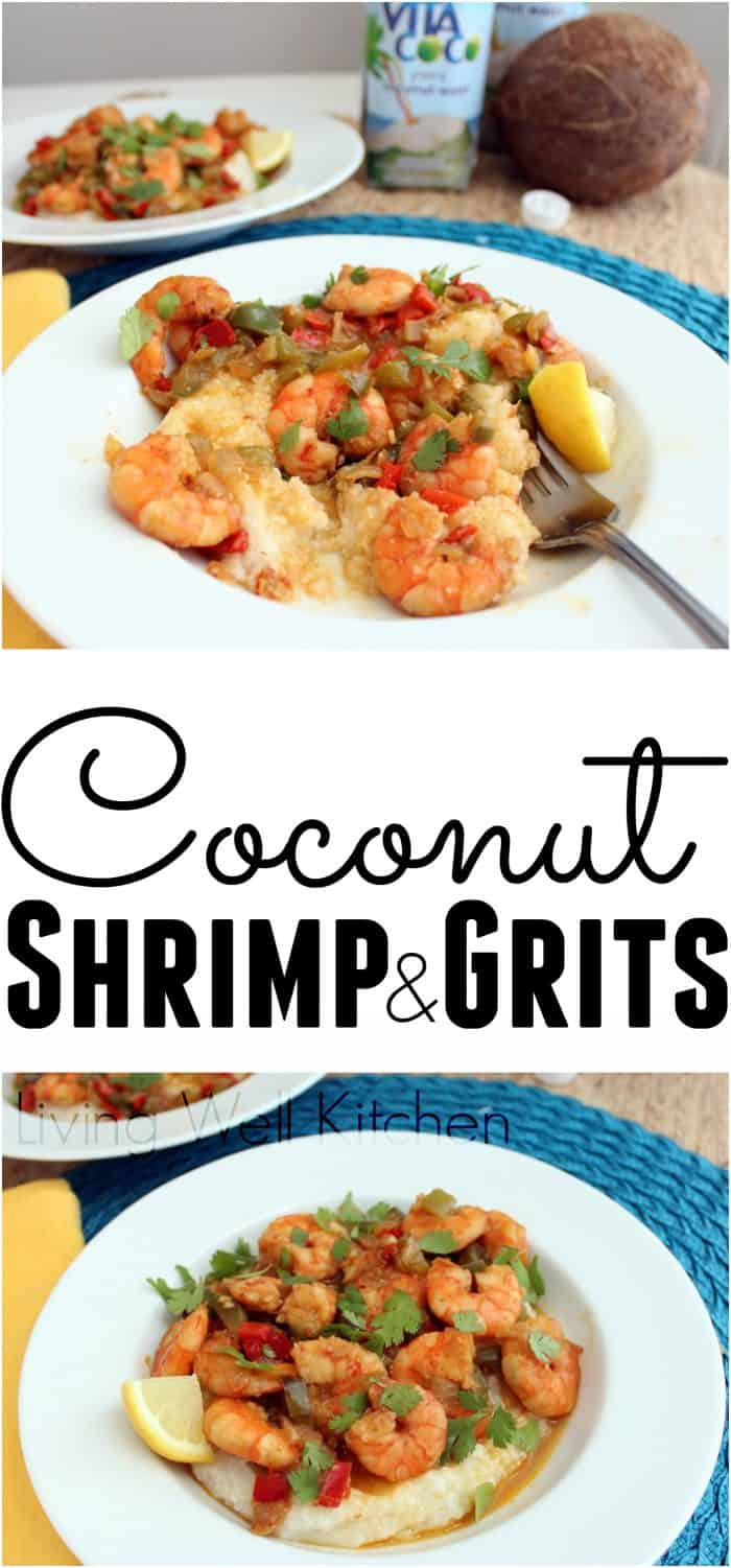 Coconut Shrimp and Grits are made with coconut water to give a tropical spin on this Southern favorite in the best possible way. Gluten free and can be dairy free