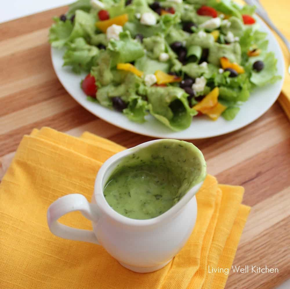 Avocado Cilantro Dressing from @memeinge is good on everything; plus, it is vegan and gluten free. The healthy dressing recipe makes you want to eat a salad everyday!