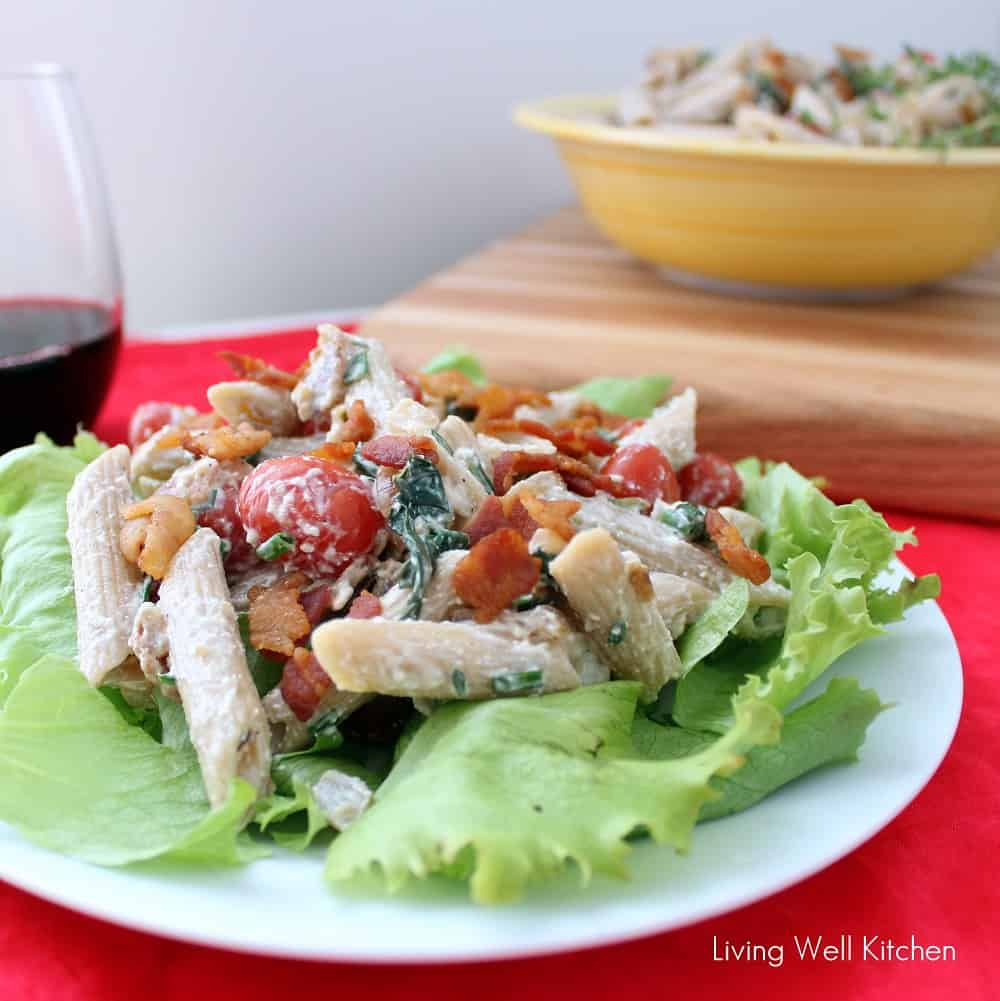 BLT Pasta Salad on a plate