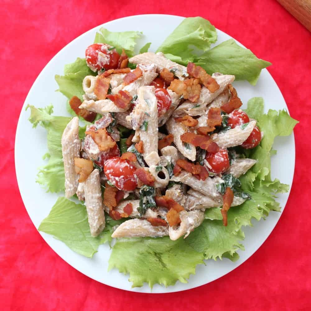 plate of BLT Pasta Salad