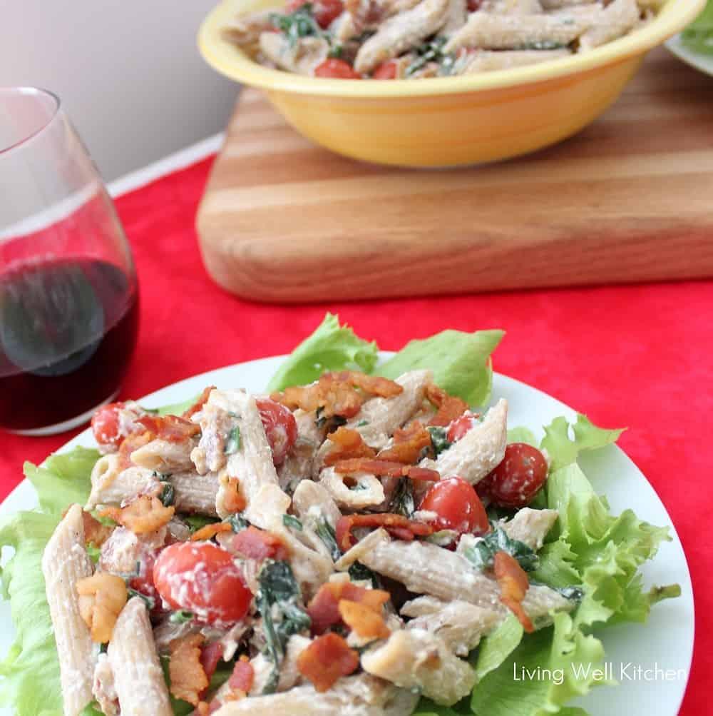 BLT Pasta Salad on white plate