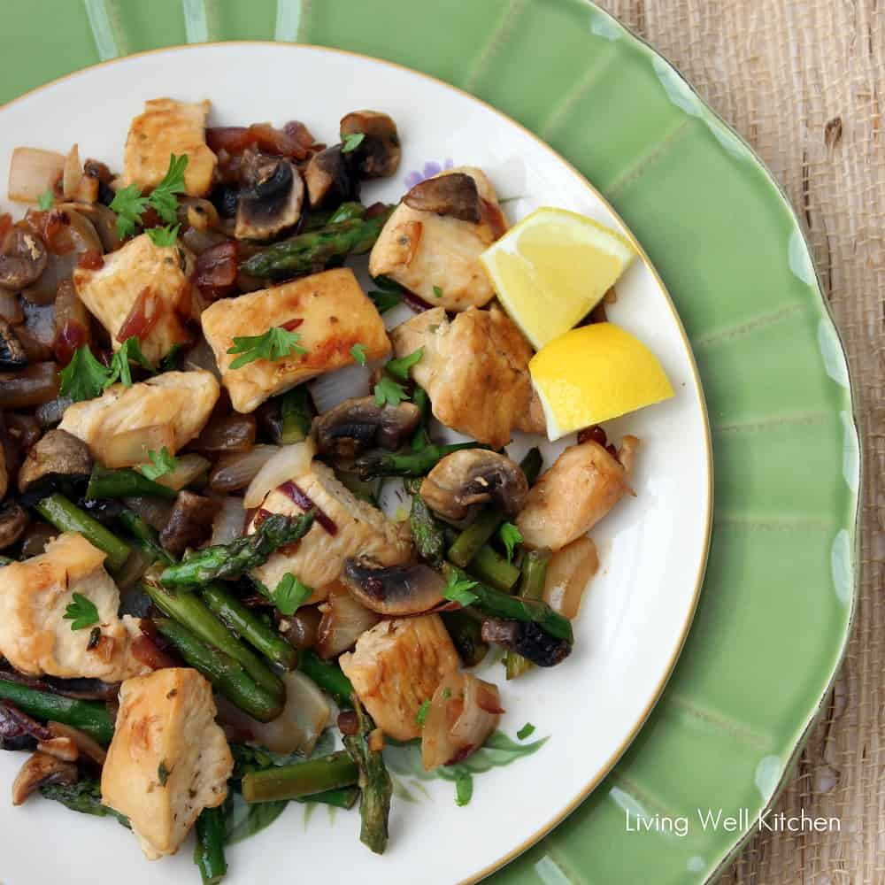 Lemon Chicken with Asparagus and Mushrooms from Living Well Kitchen
