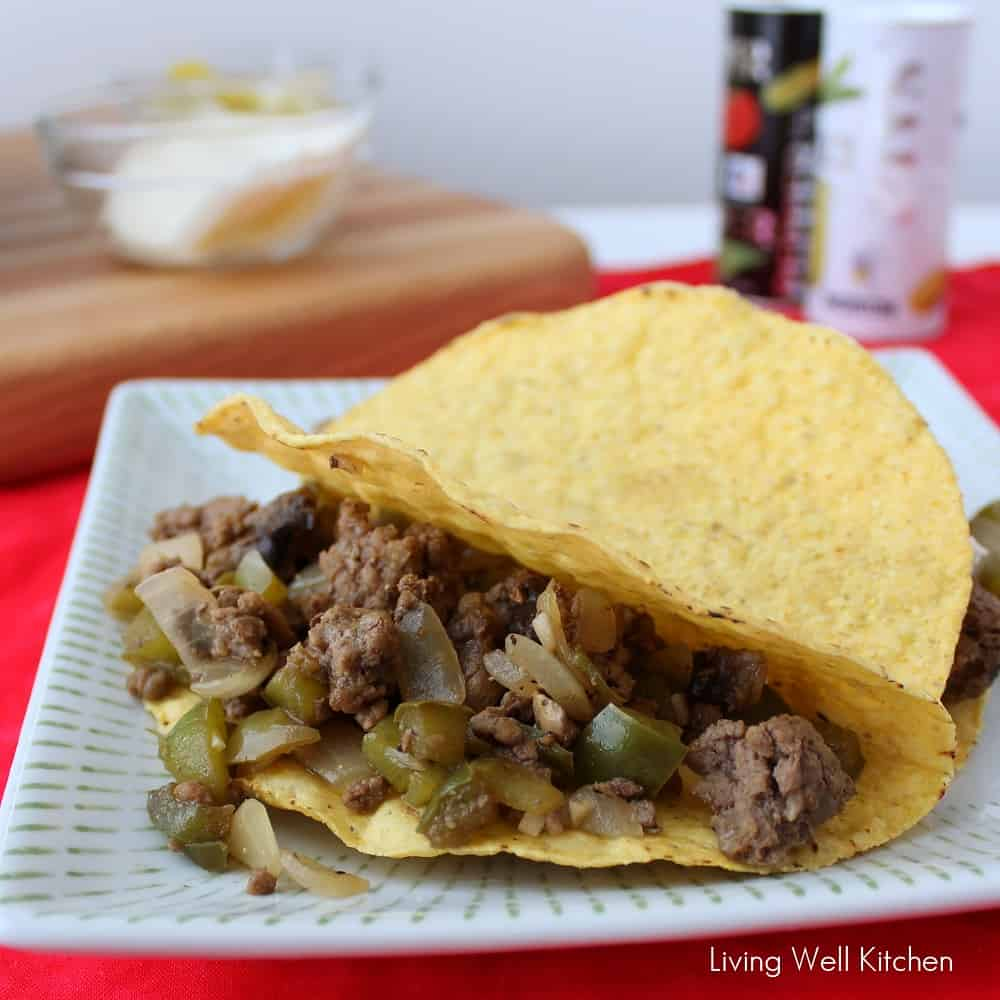 "... Cheese Steak is made in taco form {hence the title ""Philly Cheese"