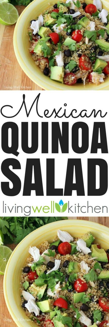 Refreshing and healthy Mexican Quinoa Salad recipe from @memeinge that's easily adaptable to what you have in your kitchen. Great for lunch or light dinner. Gluten free, dairy free and can be vegetarian.