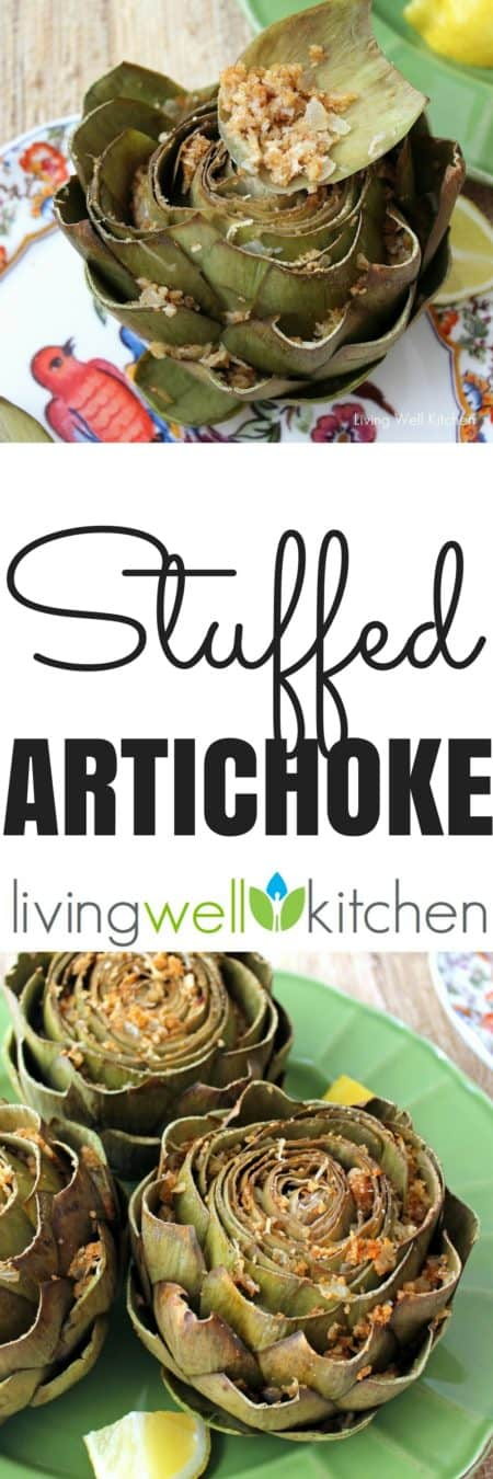 Onions, garlic, butter, and bread crumbs mixed with Parmesan make a delectable stuffing in this healthy, pretty side dish. This Stuffed Artichoke recipe from @memeinge is easily made gluten free