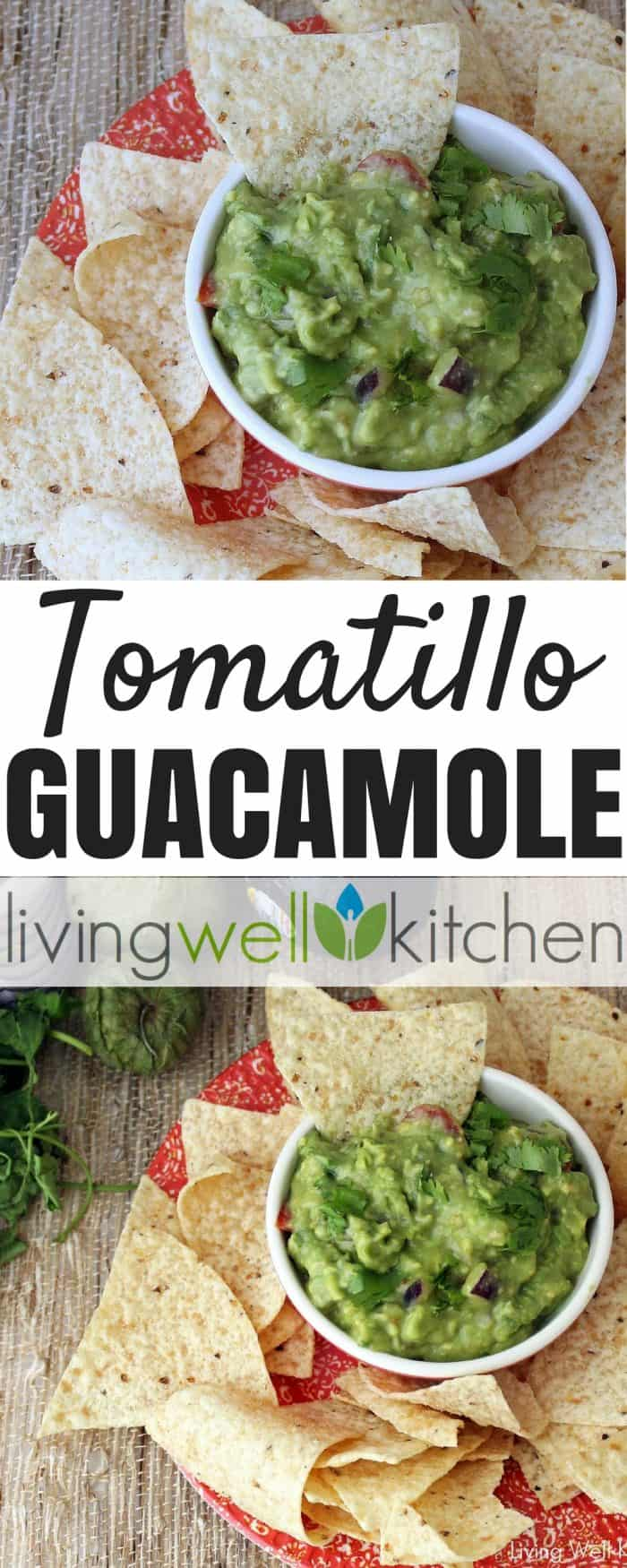 Tomatillo Guacamole from Living Well Kitchen is a tasty guacamole full of roasted tomatillos & jalapeños for extra flavor and nutrients. Gluten free, dairy free, vegan appetizer recipe via @memeinge #guacamole #avocado #cincodemayo #tomatillo #veganrecipes #glutenfreerecipes #dairyfree #appetizer #dip