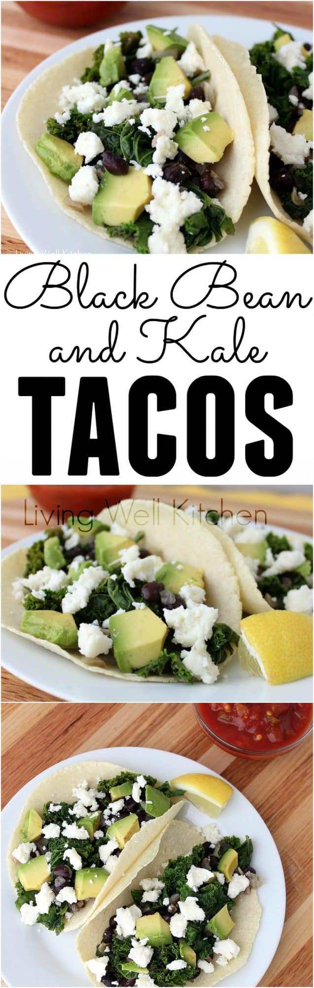Black Bean and Kale Tacos from @memeinge are vegetarian {or vegan} & gluten-free tacos that are easy, healthy, and packed with veggies