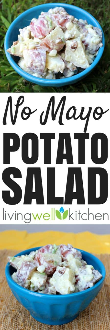 No Mayo Potato Salad from @memeinge is a lighter version of a picnic favorite. This Potato Salad recipe is mayo free but still has all the flavor you want, including the optional addition of bacon! Gluten free and can be vegetarian