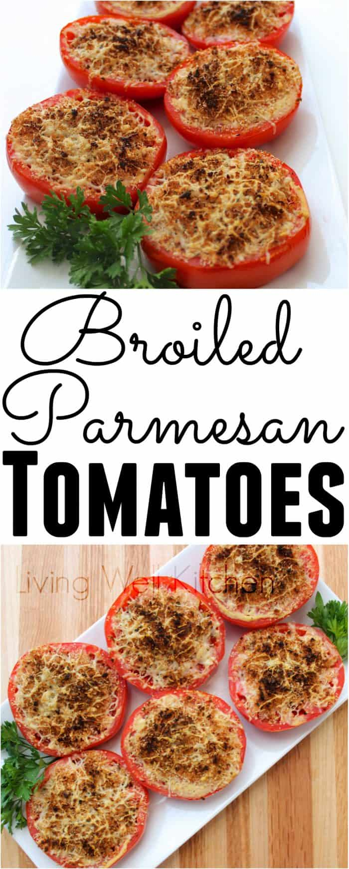 Broiled Parmesan Tomatoes are a super simple summer side dish that only needs five ingredients and takes less than 15 minutes start to finish
