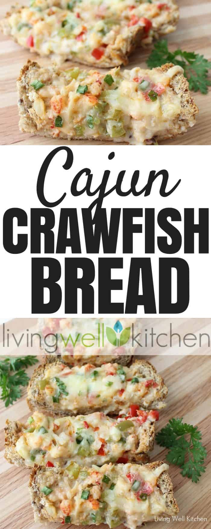 Cajun Crawfish Bread recipe from @memeinge is cheesy, flavorful, and full of veggies. Great as an appetizer, lunch or dinner served with a side salad! Works well with frozen crawfish, too. Can be gluten free. #crawfish #seafood #appetizer #cajun
