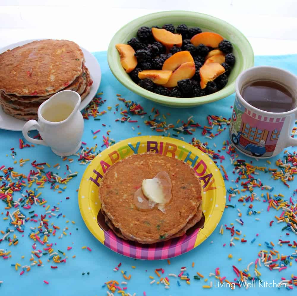 Completely homemade & improved version of funfetti pancakes. High in protein, gluten free, 100% whole grain ~ Funfetti Protein Pancakes from Living Well Kitchen