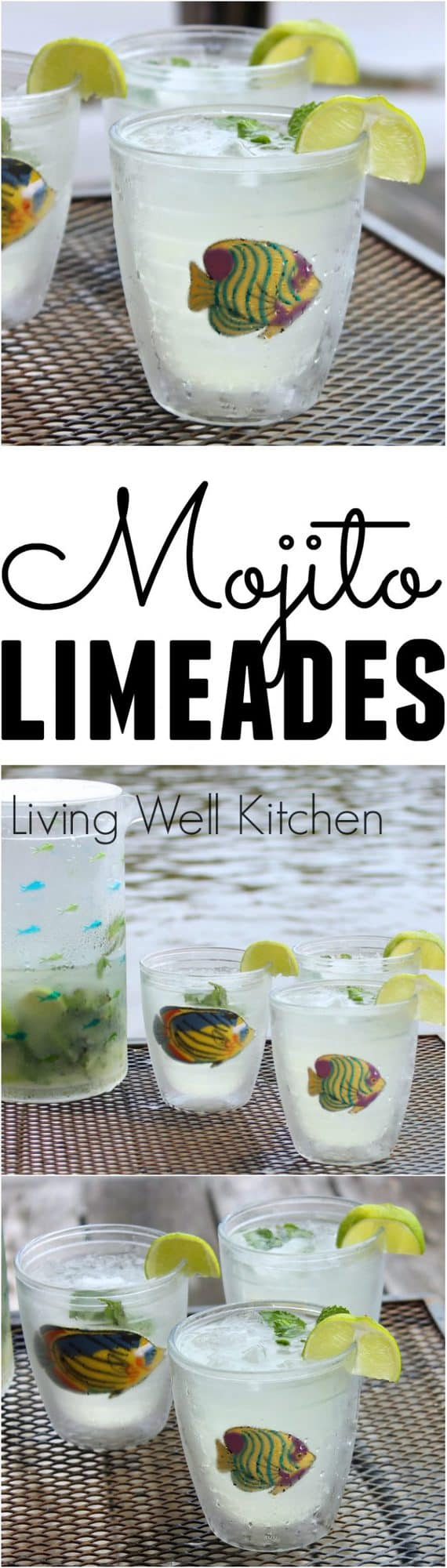 {Lighter} Mojito Limeades are the perfect summer drink ~ refreshing, not too sweet, and full of lime & mint. Made with vodka or rum, these are a delicious make-ahead summer beverage