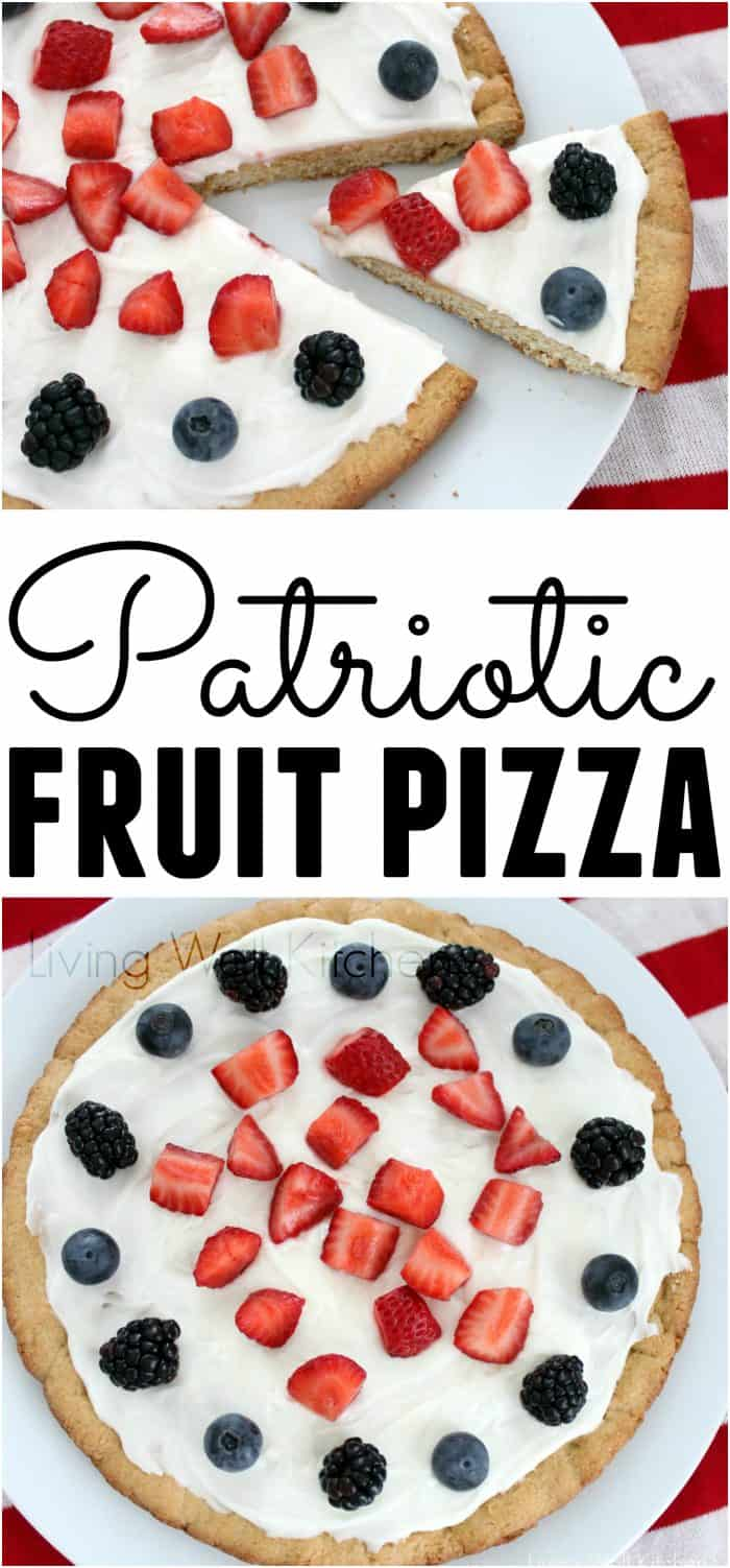 What better way to celebrate the 4th than with a large sugar cookie, covered in icing, and topped with fruit? This fun Patriotic Fruit and Sugar Cookie Pizza recipe from @memeinge is great for a festive and patriotic dessert everyone will love
