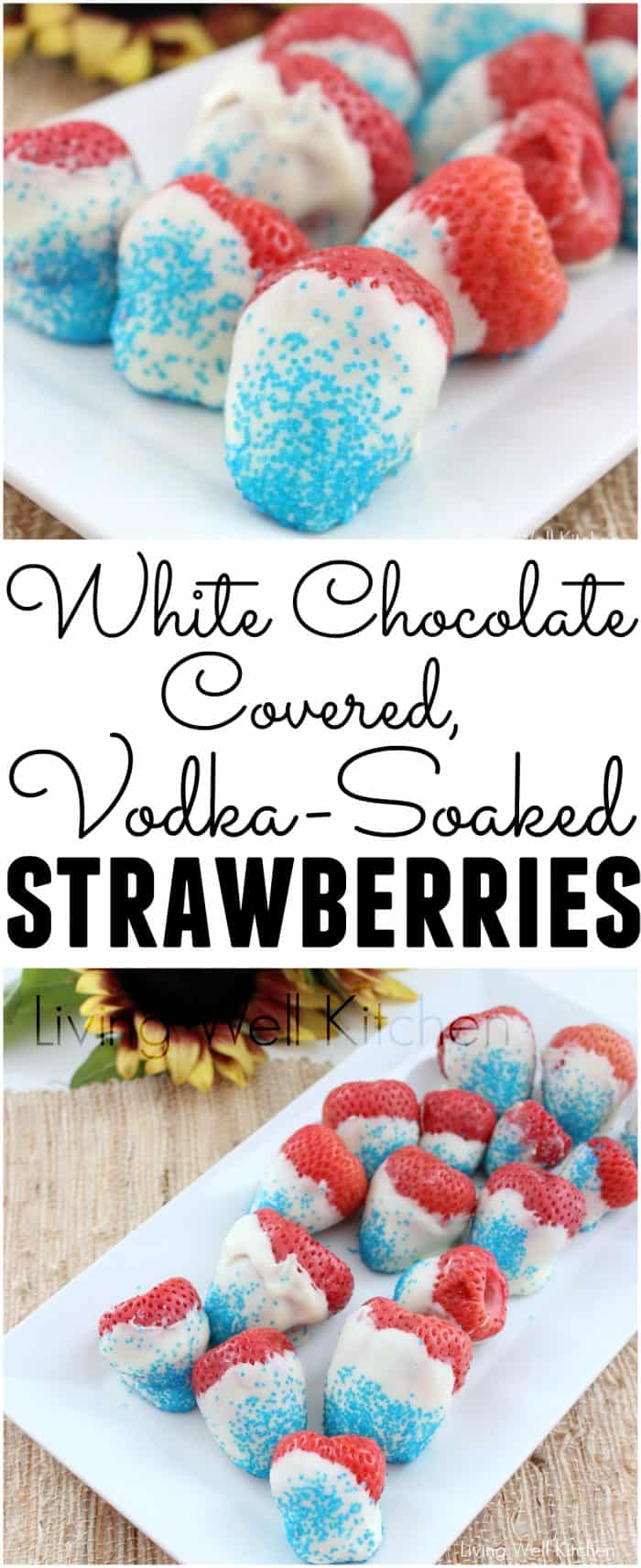 These Festive Drunk Strawberries from @memeinge are a fun patriotic adult treat. Soaking strawberries in vodka and covering with white chocolate make for a festive white chocolate covered strawberries for the over-21 crowd. Gluten free, can be dairy free