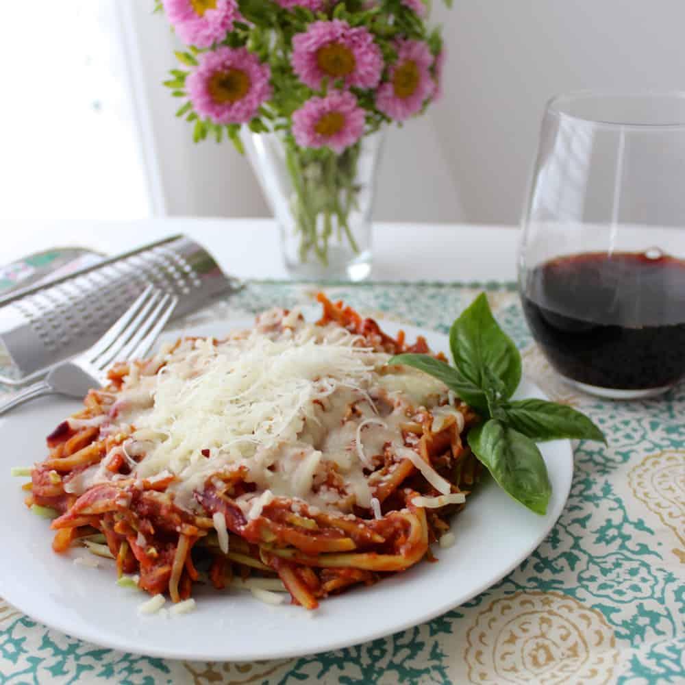 plate of Broccoli Slaw Spaghetti
